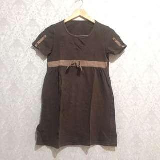 Brown Mini Dress / Daster Kaos Coklat Atasan Bahan Kaos