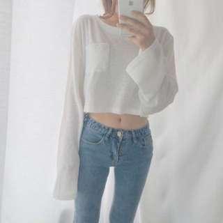 [PO] korean oversized long sleeve cropped pullover