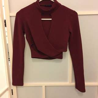 Urban Planet Burgundy Crop Top