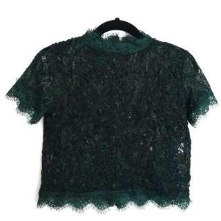 Elegant Zara Emerald Lace Crop Turtleneck Top Sz S