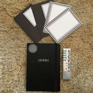 Kikki K Bundle! Monochrome! Leather Journal Notecard Set Pen Set RRP $34.90