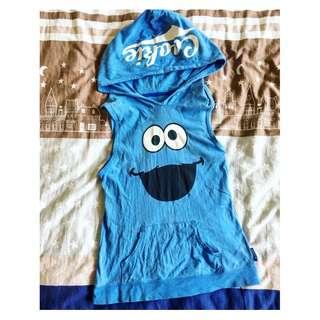 芝麻街 Elomo 餅乾怪獸 Cookie Monster 藍色運動帽T背心