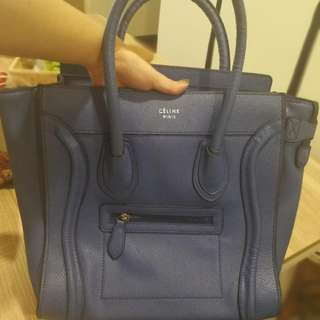 Beautiful Blue Celine Micro Luggage Tote