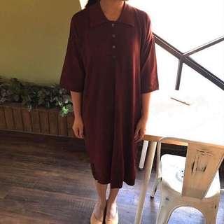 正韓 磚紅色寬鬆針織洋裝連衣裙 Claire Shop 92pleats