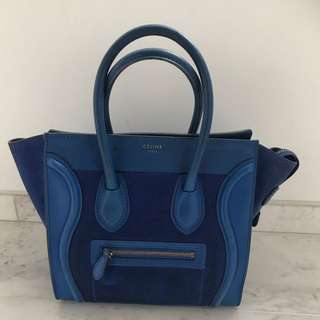 CELINE SALE !!! Cobalt Blue Leather & Suede MINI LUGGAGE