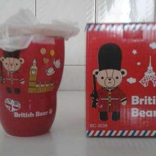 英國熊 馬克杯 附木製杯蓋