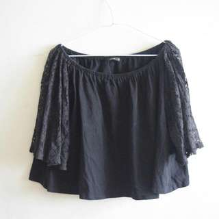 PAZZO Off Shoulder Lace Top Black (ZARA, H&M,F21, Asos)