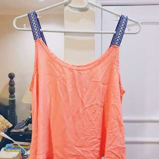 Pastel Orange Loose Tank Top With Stitched Sleeves