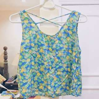 Pineapple Print Crop Too With Cross-Back Design