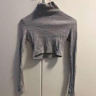Grey Ribbed Turtleneck Crop Long Sleeve Top