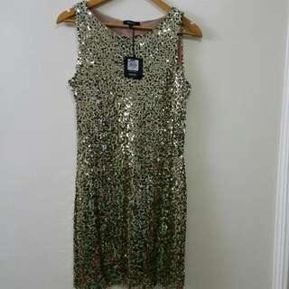 Gold Sequinned Short Dress By Prima