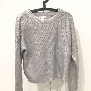 BRAND NEW Never Worn Silver Metallic Knit Jumper/Sweater