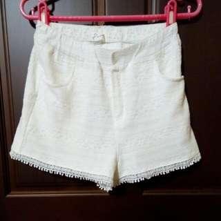 Pazzo 白色蕾絲短褲,白