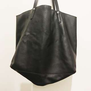 Black Pu Leather Shopper Bag