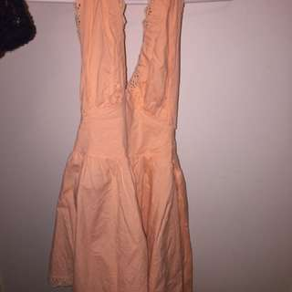 Backless Peach Tie Up Dress