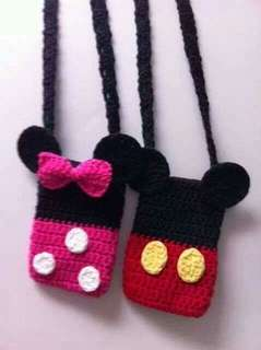 crochet mickey/minnie mouse bags