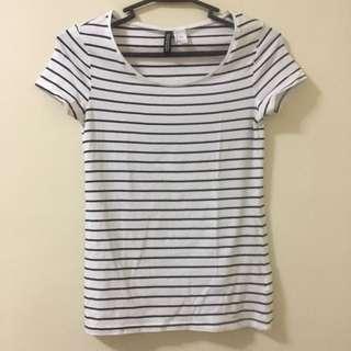 H&M   Black & white Stripes T-shirt