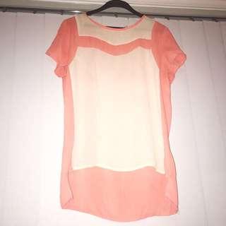Size 12 Cute Orange/Pink Top