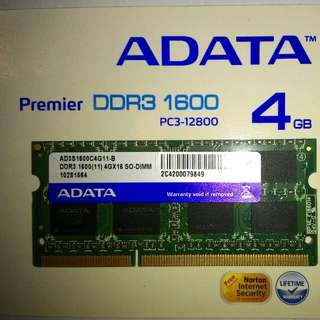 4GB DDR3 1600 laptop RAM PC3-12800 (2 pieces available}