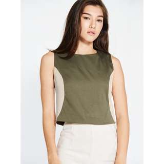 🚚 Pomelo Fashion Olive Two Tone Crop Top
