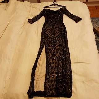 Gorgeous QUIZ black Off The Shoulder Black Sequined Evening Dress UK 8!