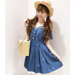 日本Liz Lisa 牛仔lace連身裙
