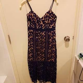 Navy And Beige Evening 3/4 Length Dress