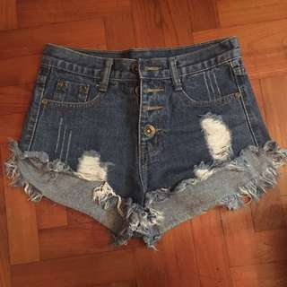 Ripped Denim Button Shorts