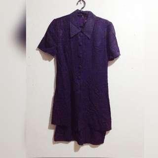 Collared Dark Blue Dress
