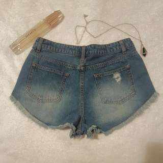 Ally Denim Lace Short Shorts
