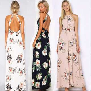 PO Floral Halter Elegant Sexy Open Back Slit Long Maxi Dress