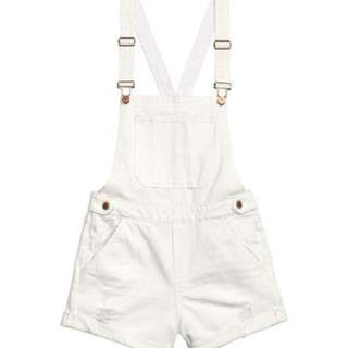 🚚 H&m White denim Jumpsuit / Overalls