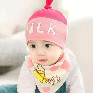 I Love Milk Baby Bonnet & Bib Set