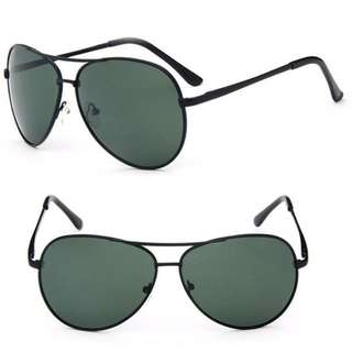 Stylish Aviator Sunglasses With Greenish Lens And Black Alloy Frame