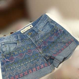 Tribal Denim Shorts (High-waist)