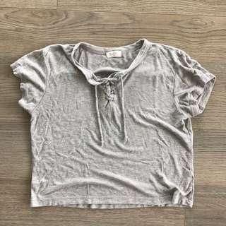 Brandy Melville Grey Tie Up Shirt