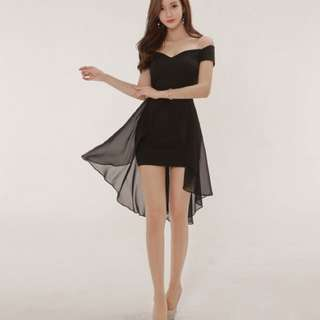 洋裝 A8527韓國夜店風 露肩燕尾連衣裙