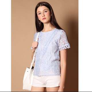 BN Thestagewalk Nat Lace Sleeve Top In Powder Blue