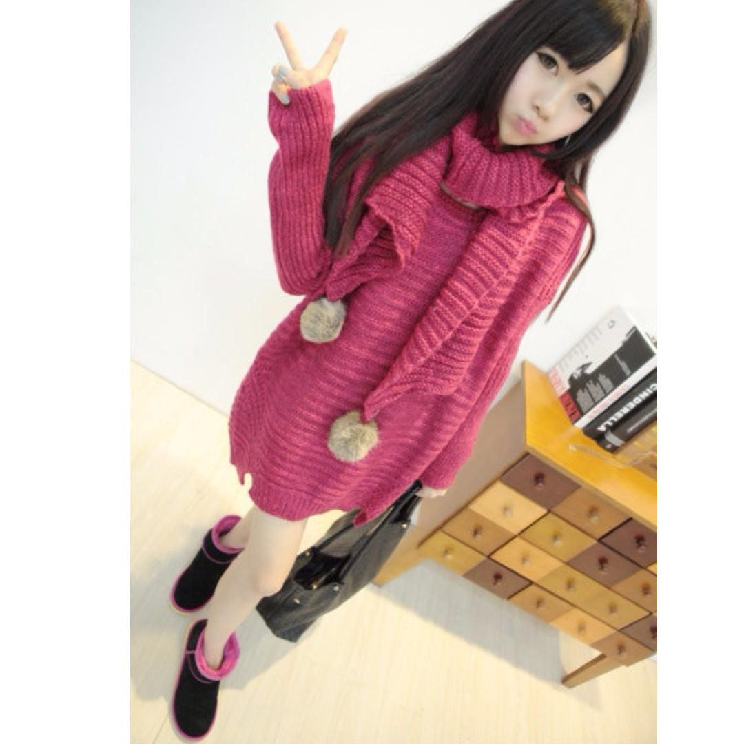 桃紅兔毛圍巾針織連身裙