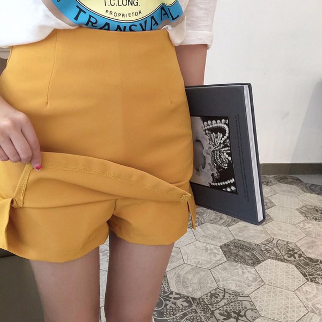 韓系簡約微開岔褲裙