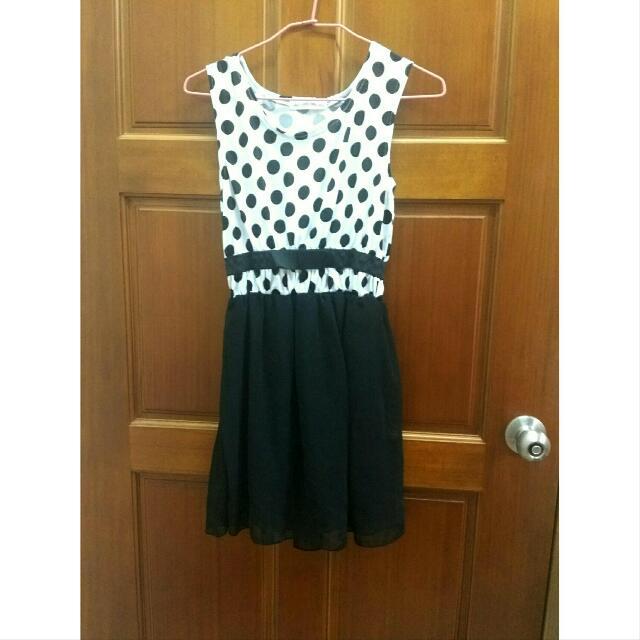 全新黑白點點洋裝 連身裙