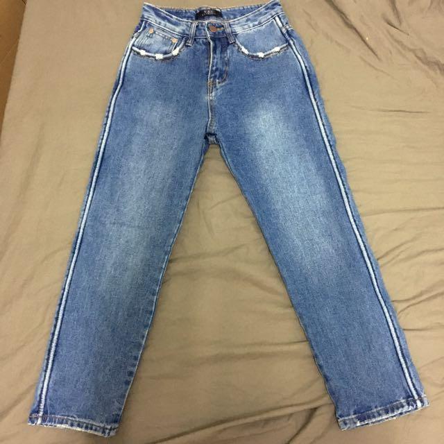 正韓 復古 側邊條 高腰 牛仔 直筒褲 寬褲 S