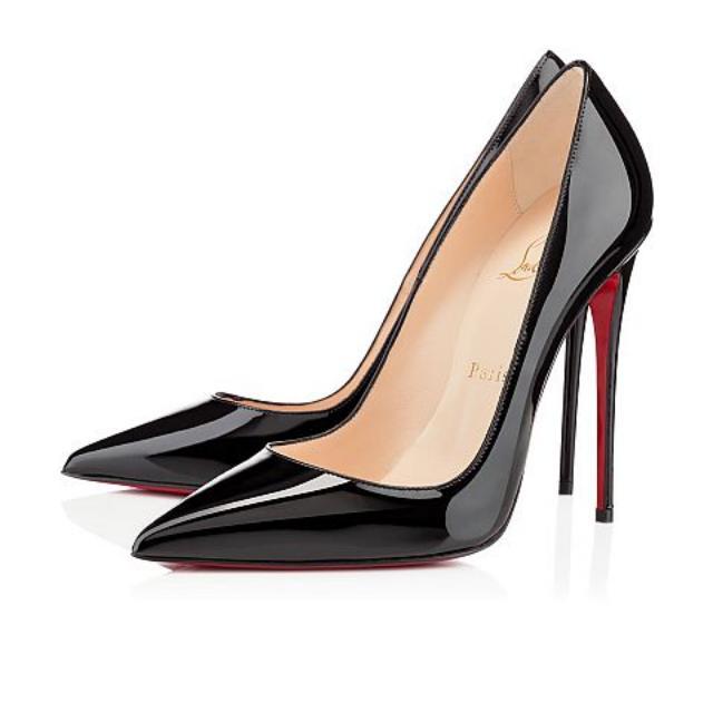 Authentic Christian Louboutin So Kate 120 Patent Black Pumps Shoes 38