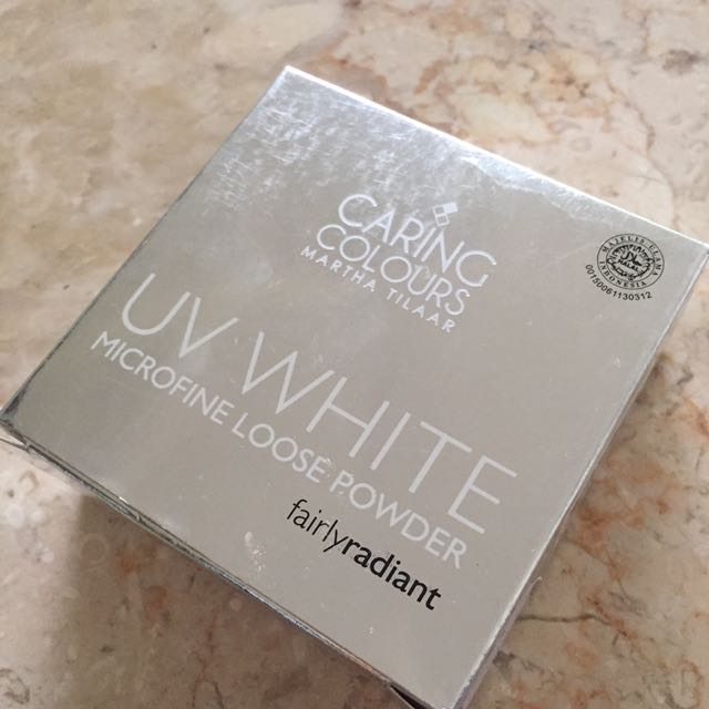 Bedak Tabur Caring Colour UV White Microfine Loose Powder