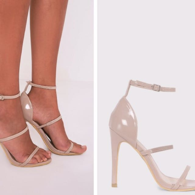 Beige Strapy Sandal Heels