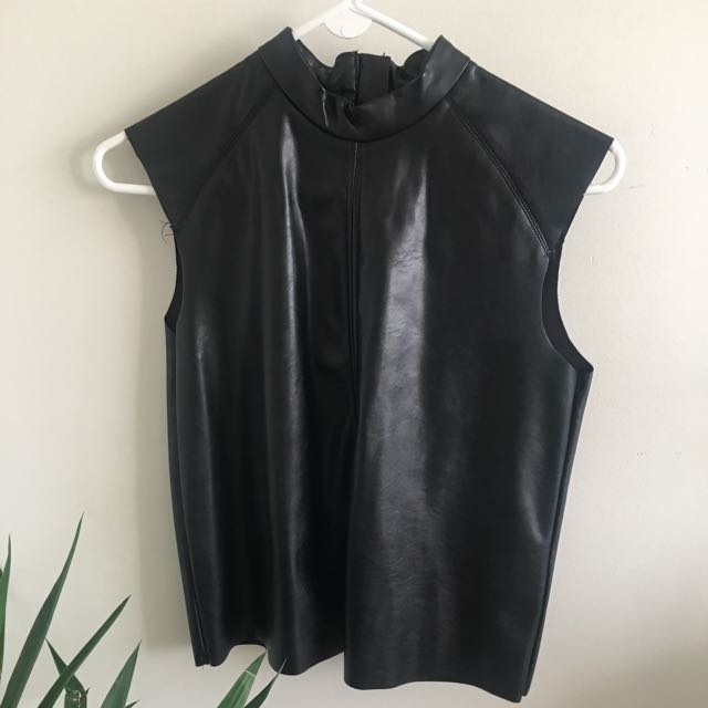 Black Faux Leather Turtle Neck Short Sleeve (h&m, Size Small)