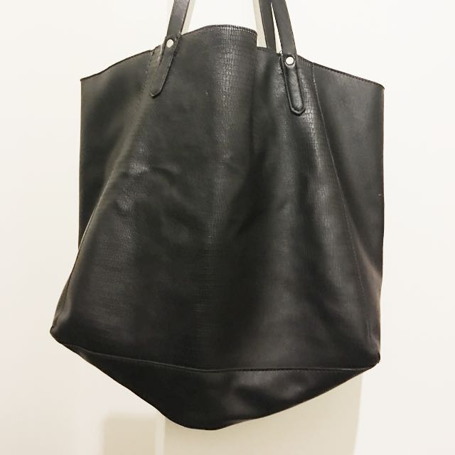 Black Pu Leather Shopper Bag