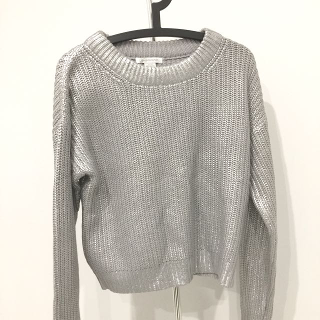 BRAND NEW Never Worn Silver Metallic Knit Jumper/Sweater