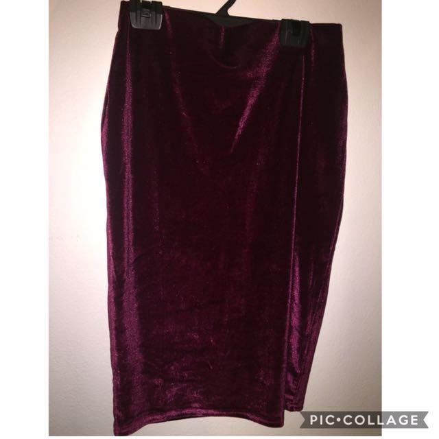 Brand New Valley Girl Velvet Long Pencil Skirt