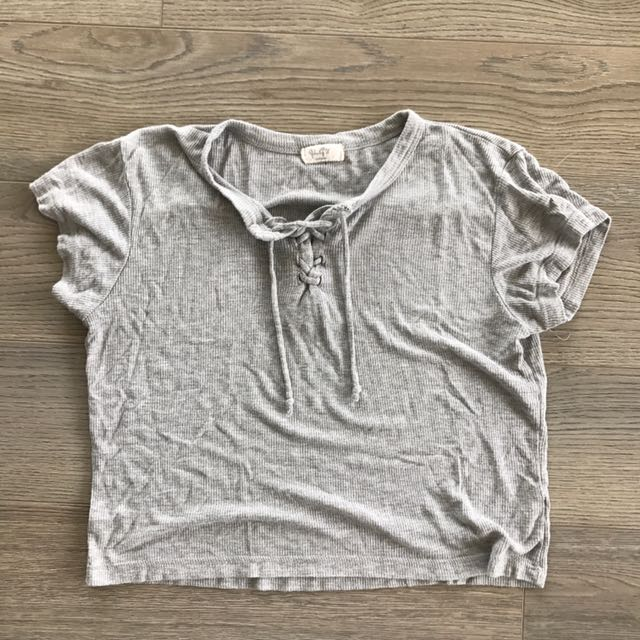 Brandy Melville Grey Tie Up Shirt